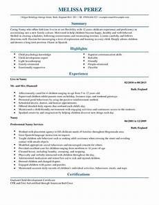 best nanny resume sles 2016 resume sles 2018