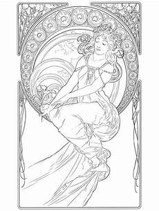 malvorlagen jugendstil painting by alphonse mucha coloring page drawing