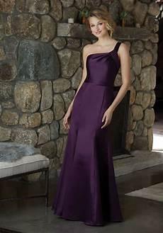 one shoulder satin bridesmaid dress style 21587 morilee