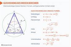 gleichschenkliges dreieck berechnen fl 228 che h 246 he formel