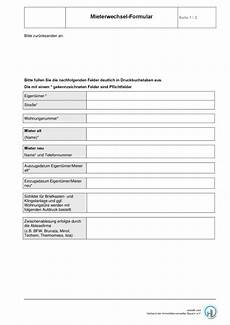 mieterwechsel formular formular zum kostenlosen