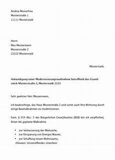 kündigung wegen sanierung mieterh 246 hung modernisierung musterbrief zum
