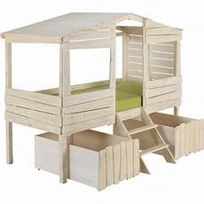 lit cabane 1 place en pin massif blanc 90x200 cm woody