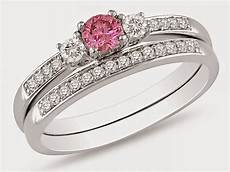 matching engagement and wedding rings sets uk with pink