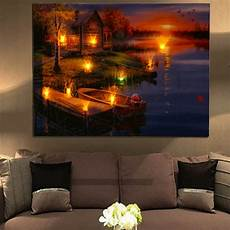 led lighted lake cabin sunset boat canvas wall art light up picture home decor ebay