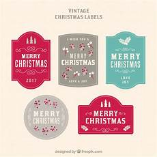 of five vintage merry christmas stickers vector free download