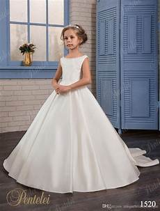 girls wedding dresses 2017 pentelei with beaded neck and