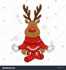 cute christmas reindeer engaged yoga meditates stock vector 765988072