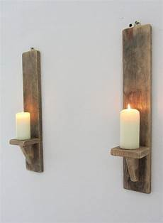 pair of rustic recycled pallet wood wall sconce led candle