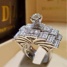 brand cute female crystal white round ring set luxury 925 silver engagement ring vintage bridal
