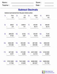 adding and subtracting decimals worksheets grade 5 7376 decimals worksheets dynamically created decimal worksheets