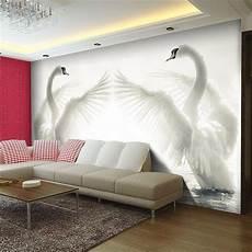 papier peint personnalisé pas cher pas cher romantique blanc cygnes photo papier peint grand