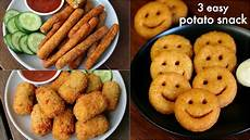 3 easy potato snacks recipe for kids potato fingers potato nuggets potato smiley recipe