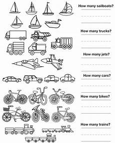 vehicles worksheets kindergarten 15164 other graphical works counting pictures transportation to color