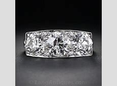 3.27 Carat Total Weight Art Deco Three Stone Diamond Ring