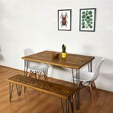 essplatz mit bank reclaimed pallet dining table and bench hairpin legs by