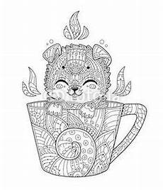 vector fox in cup antistress coloring page with