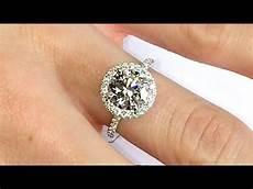 2 ct diamond halo engagement ring youtube