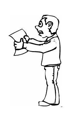 grimmiger mann mit blatt papie ausmalbild malvorlage