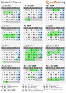 Kalender 2017 Ferien Und Feiertagen Bayern Ferie