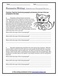 persuasive essay worksheets persuasive writing introductory paragraph review