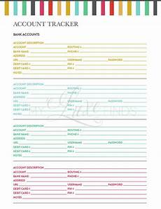 printable password card items similar to bank account and credit card tracker home management folder editable