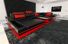 design leather sofa mezzo with led lights black ebay