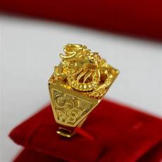 lifelike chinese dragon shaped band ring for men real yellow gold filled trendy adjustable