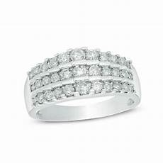 1 ct t w diamond three row tiered anniversary band in 14k white gold wedding bands wedding