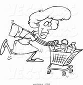 Vector Of A Cartoon Grocery Shopping Woman  Outlined