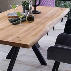 Eiche Baumkanten Tisch Natur Ge 246 Lt Mit Metall Gestell