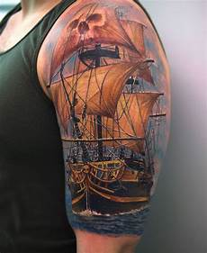 Pirate Tattoos Awesome 3d Pirate Ship On Left