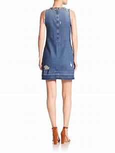 lyst j brand reeve distressed denim dress in blue