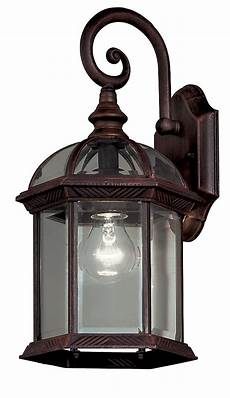 hton bay 1 light weathered bronze outdoor wall lantern with clear bevelled glass shades the