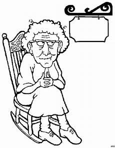 alte oma mit schild ausmalbild malvorlage beruf