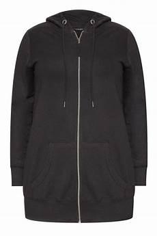 black zip through hoodie plus size 16 to 36