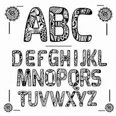 zentangle alphabet black stock vector illustration of
