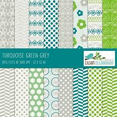 turquoise green gray digital papers with images floral