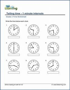 clock time worksheets grade 3 3458 grade 3 telling time worksheet read the clock 1 minute intervals k5 learning