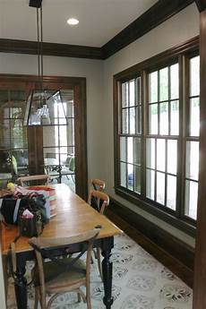 before and after for the nest dark wood trim painting