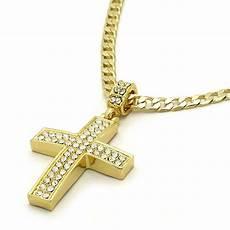 Kreuz Kette - mens 14k gold filled fully cz cross pendant hip hop 24