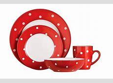 16pc Stoneware Polka Dot Dinner Set Red/White Dinner Side