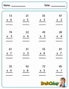 multiplication worksheets one digit by two digits 4536 multiplication brainchimp