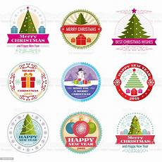 merry christmas vector labels winter holiday retro emblems and icons stock illustration