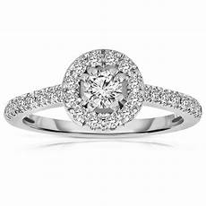 half carat cut halo diamond engagement ring in white