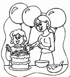 Malvorlagen Kinder Torte Mutter Mit Backt Torte Ausmalbild Malvorlage Kinder