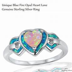 heart love pink fire opal wedding engagement w blue opal sterling silver ring ebay