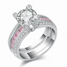 pink sapphire white cz 925 sterling silver wedding