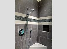 Custom walk in shower using a large profile tile with a