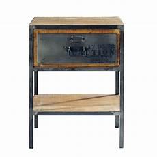 Nachttisch Aus Metall Mit Schublade B 45 Cm Schwarz
